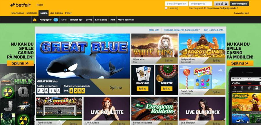 Betfair-Casino-spiludvalg