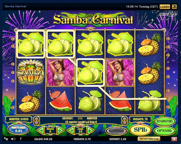 Samba Carnival spillemaskine Tivoli Casino