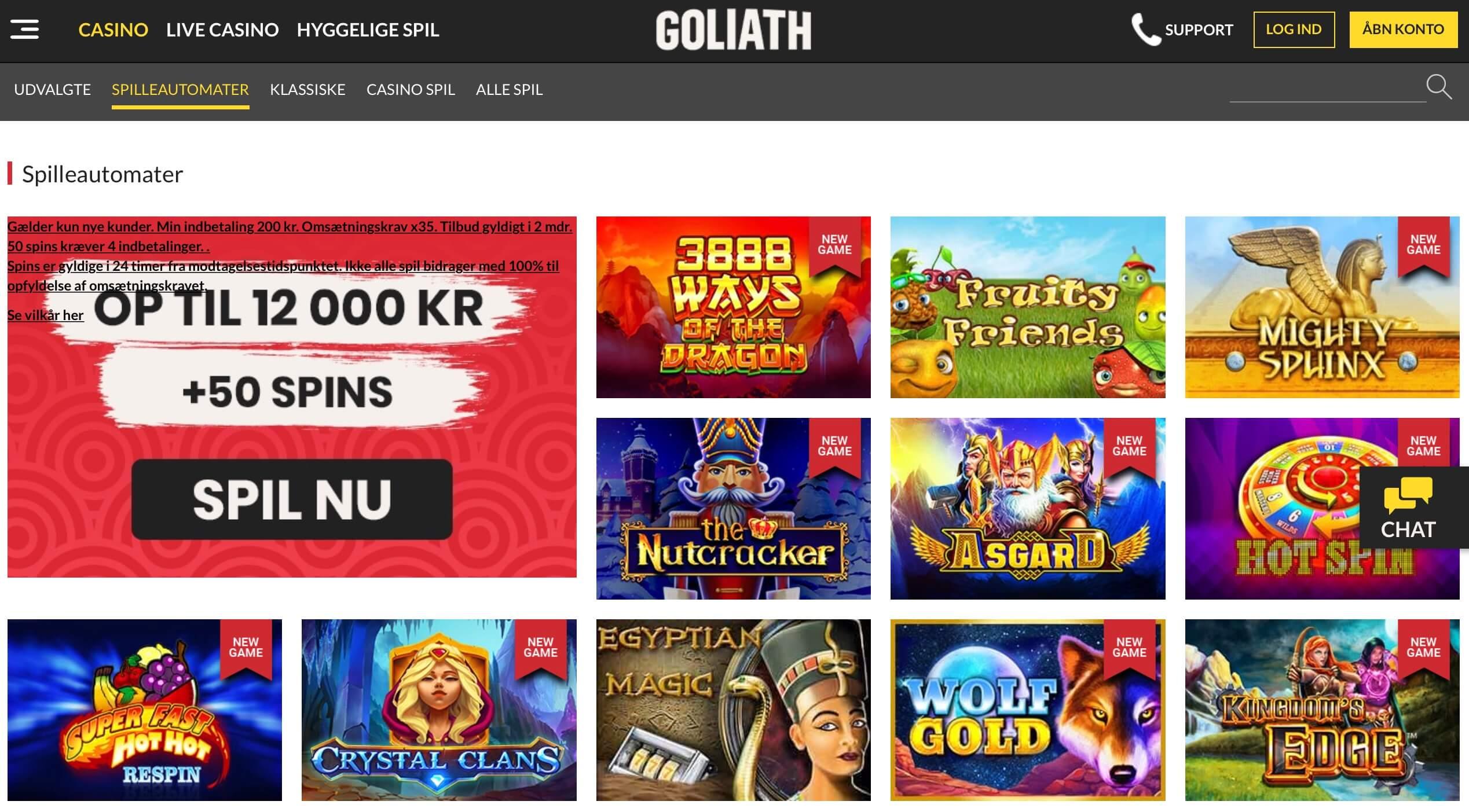 Goliath Casino spil